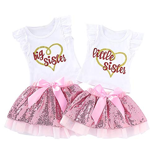 puseky Baby Girls Little Big Sister Matching Outfits Ruffle Sleeve Shirt Tops Sequin Tutu Skirt Set (Big Sister-3T-4T, White+Pink)
