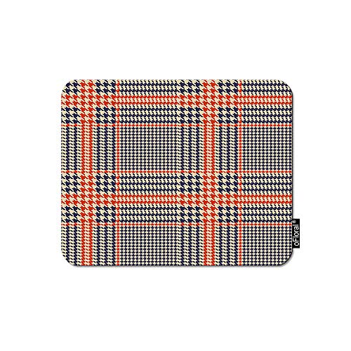 Orange Hounds (oFloral Geometric Mouse Pad Gaming Mouse Pad Hounds Tooth Orange Glen Buffalo Plaid Check Decorative Mousepad Rubber Base Home Decor for Computers Laptop Office 7.9X9.5 Inch)