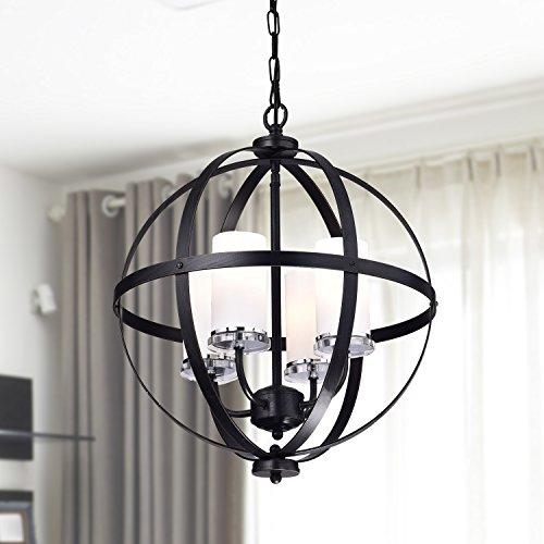 Jojospring Benita Antique Black Iron Orb Chandelier With Glass Globe