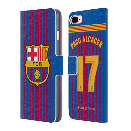 Official FC Barcelona Paco Alcácer 2017/18 Players Home Kit Group 1 Leather Book Wallet Case Cover for iPhone 7 Plus/iPhone 8 Plus