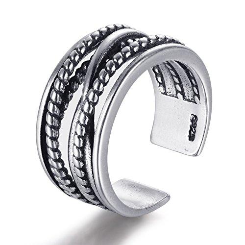 Candyfancy 925 Sterling Silver Vintage Wide Twist Adjustable Open Ring Fashion Men Women (S (suit for 5.6-7.2))