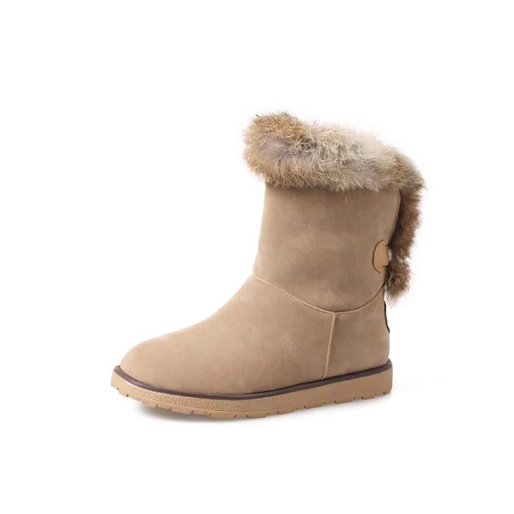 Hy Damen Stiefel Winter Stiefel Wildleder Winter Stiefelies/Damen Schnee Stiefel Stiefel/Academy Flache beiläufige große Größe Stiefeletten/Student Snow Stiefel Stiefel (Farbe : EIN, Größe : 34)