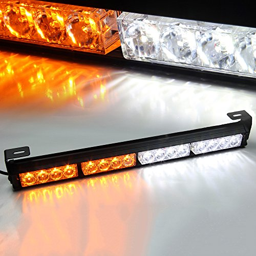 Xprite 18″ 16 LED Emergency Warning Traffic Advisor Vehicle LED Strobe Light Bar – White & Amber Yellow