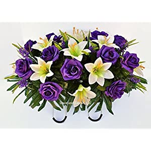 Easter Lilly & Purple Rose Cemetery Saddle for Grave Decoration at Easter or Mother's Day 3