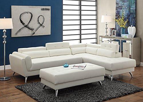 Amazoncom 3pcs Modern White Bonded Leather Sectional Sofa Set With