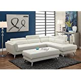 3Pcs Modern White Bonded Leather Sectional Sofa Set with Extra Large Ottoman and Reveal Storage Compartments