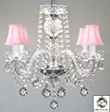 MURANO VENETIAN STYLE ALL CRYSTAL CHANDELIER W/CRYSTAL BALLS AND PINK SHADES! Review