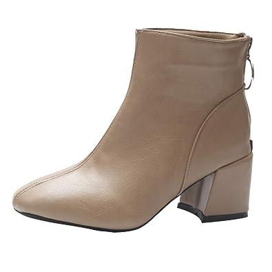 eecae75394dd4e ELECTRI 2018 Femme Automne Hiver français Boots Cheville Boots Chaudes  Bottines Rétro Mode Rivet Bottine Talon Haut Chaussons à Glissière:  Amazon.fr: ...