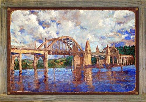 Northwest Art Mall Siuslaw River Bridge (Florence Oregon) Rustic Metal Art Print on Reclaimed Barn Wood by Lisa Sofia Robinson (12