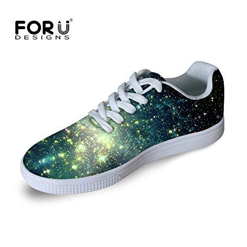 Voor U Ontwerpen Casual Heren Galaxy Print Lage Top Comfortabele Skateboard Schoenen Lace-up Sneaker Galaxy B6