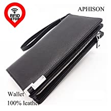 APHISON Men's RFID Zipper Blocking Wallet Leather Clutch Travel Purse