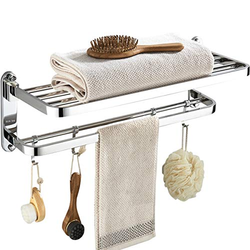 (Wantacme Stainless Steel Bathroom Shower Towel Rack, [Drilling-Free] 23 Inch Wall Mounted Double Bars SUS304 Stainless Steel Foldable Towel Shelf for Home/ Hotel Bathroom Towel Rack)