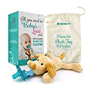 Baby Pacifier with Stuffed Animal Dog Toy Attached – Detachable – for Babies and Toddlers with Drawstring Fabric Bag – Teal - by Genevit