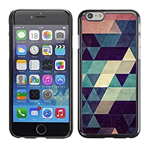 FECELL CITY // Duro Aluminio Pegatina PC Caso decorativo Funda Carcasa de Protección para Apple Iphone 6 // Polygon Art Pattern Teal Beige Red Blue