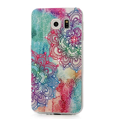 S6 Case,Samsung Galaxy S6 Case (Non-Edge) - Mavis's Diary 3D Handmade Bling Crystal Rhinestone Sparkly Diamonds Fashion Printed Colorful Totem Flower Pattern Design Clear Case Hard PC Cover