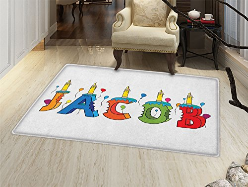 smallbeefly Jacob Door Mats for home Cartoon Colorful Festive Letters Spelling Male Name Surprise Birthday Party Kids Bath Mat Bathroom Mat with Non Slip Multicolor