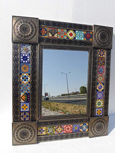 PUNCHED TIN MIRROR with talavera tile ethnic mexican folk art 22 X 26 inches