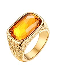 Fashion Womens 18K Gold-Plated and Cubic Zirconia Ring Stainless Steel
