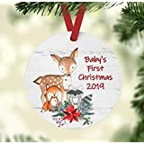 Baby's First Christmas 2019 Ornament - Woodland Animals Theme Baby Shower Present - Deer, Fox, and Raccoon