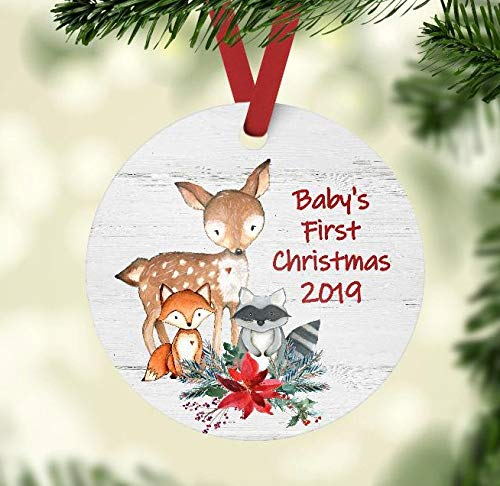 First Christmas Ornament 2019 Amazon.com: Baby's First Christmas 2019 Ornament   Woodland