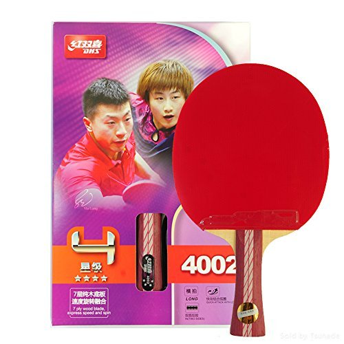DHS Ping Pong Table Tennis Racket Paddle Bat 4 Star Shakehand Long Handle Double Pimples-in Bat 4002 with Landson Support