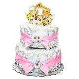 Pink Burt's Bees Newborn Baby Diaper Cake Gift for Girls