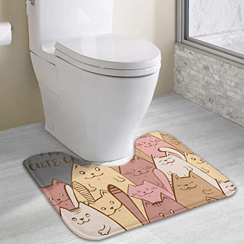 Dealbert Enjoy The Life Love My Cute Cat Contour Bath Rugs,U-Shaped Bath Mats,Soft Memory Foam Bathroom Carpet,Nonslip Toilet Floor Mat 19.2″x15.7″