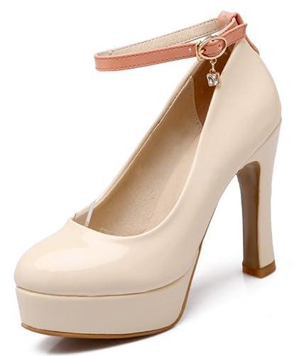 bfe3fe7adddc IDIFU Women s Sexy Platform High Block Heels Ankle Strap Pumps Shoes  (Beige