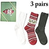 Zoylink 3 Pairs Christmas Socks Xmas Socks Solid Cotton Crew Socks for Unisex