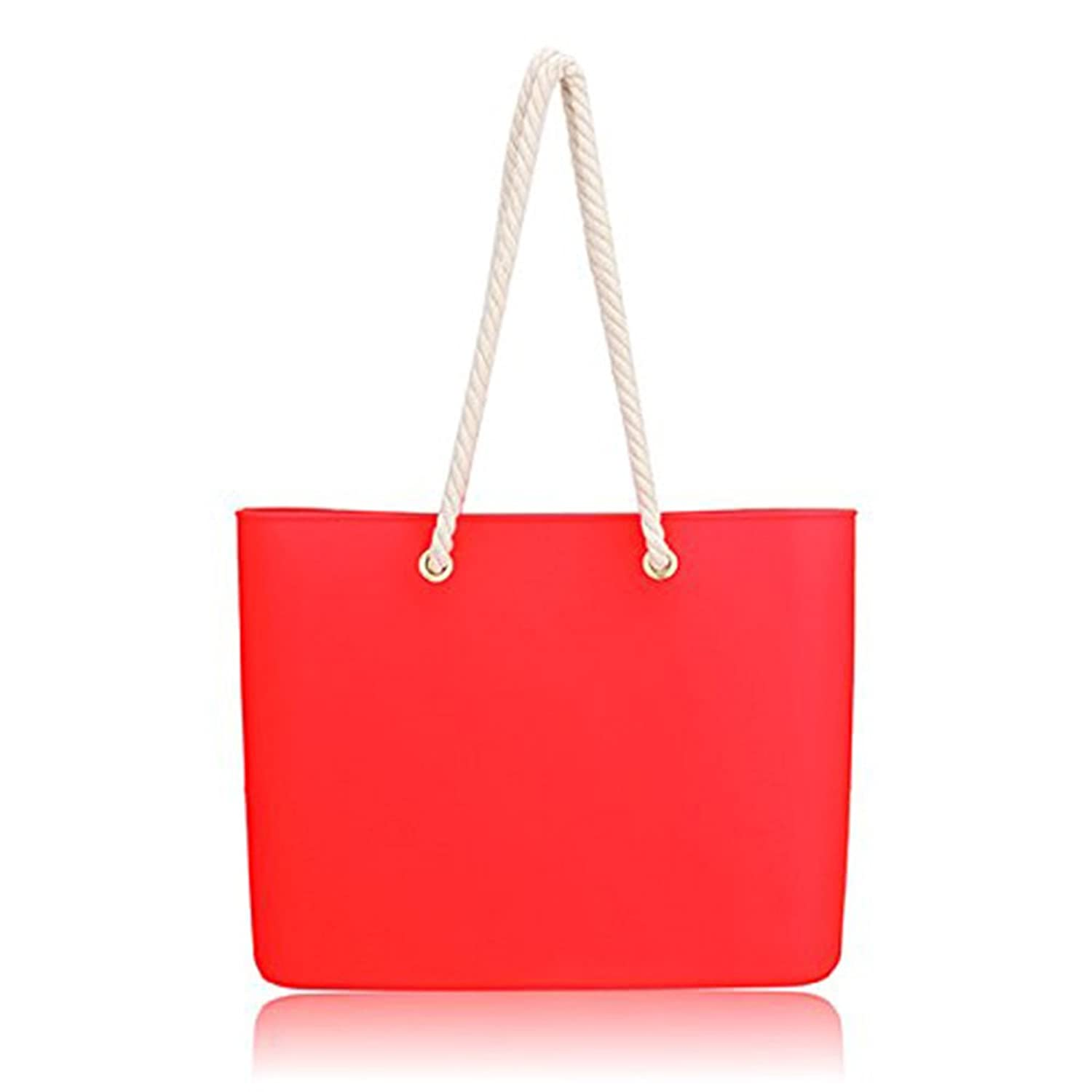 Silica Gel Transparent Waterproof Totes Women Candy Color Handbags Casual Shoulder Bags Beach Bags.