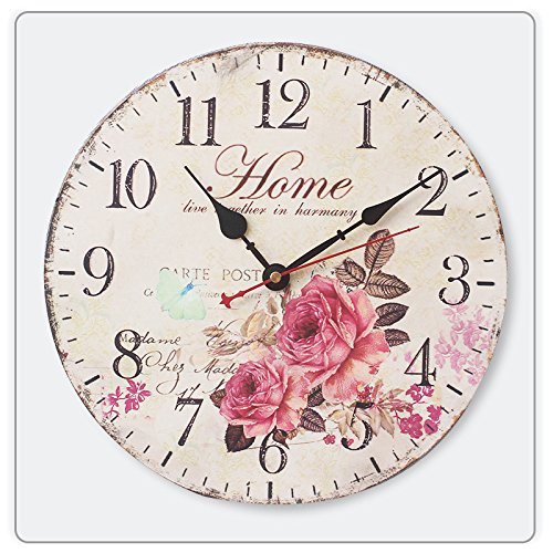HI GIRL 12 Inch Retro Wooden Wall Clock Farmhouse Decor, Silent Non Ticking Wall Clocks Large Decorative - Big Wood Atomic Analog Battery Operated - Vintage Rustic Colorful Tuscan Country Outdoor