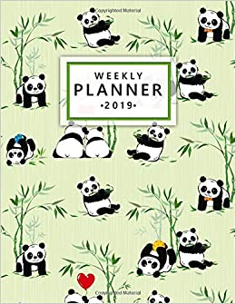 Weekly Planner 2019: Cute Green Heart Bamboo Panda Weekly ...