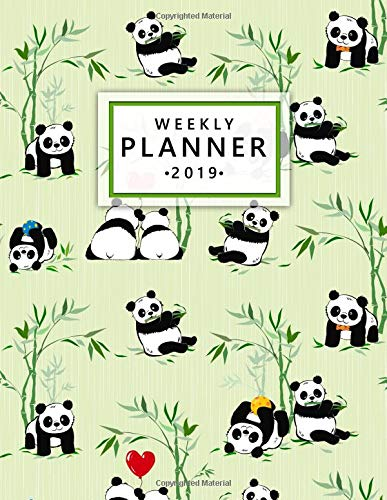 Weekly Planner 2019 Cute Green Heart Bamboo Panda Weekly and Monthly Planner Yearly Schedule Organizer Journal Agenda Notebook (January 2019 - December 2019) [Planners, Simple - Planners, Creative] (Tapa Blanda)