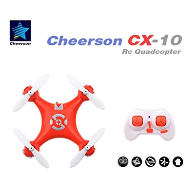 Seresroad CX-10 4CH 2.4GHz 6 Axis Gyro LED Rechargeable Mini Nano RC UFO Quadcopter - Orange: Toys & Games