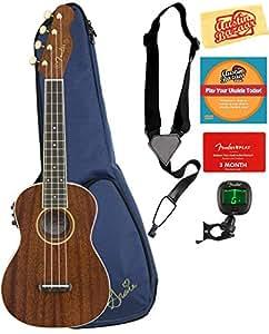 Fender Grace Vanderwaal Signature Soprano Ukulele Bundle with Gig Bag, Tuner, Strap, Fender Play Online Lessons, and Austin Bazaar Instructional DVD
