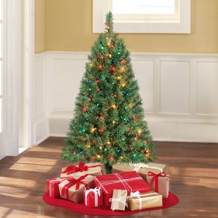 Artificial X-mas Tree Pre-Lit 4' Indiana Spruce Green, Multi-Lights Artificial Christmas Trees