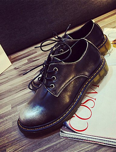 Rojo us6 uk4 us8 brown Negro red Plano cn39 eu39 us8 Redonda Marrón Punta Zapatos mujer Oxfords eu39 eu36 brown uk6 Casual cn36 cn39 Semicuero uk6 de Tacón ZQ x6F7SUw