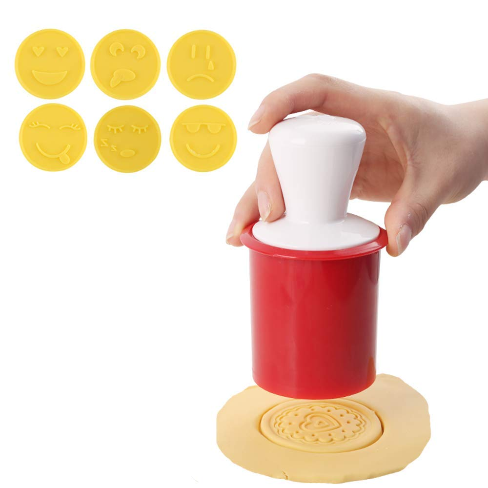 Silicone Cookie Stamps Set, 6pcs Hand Press Cookie Cutter Stamper Set Pastry Molds, DIY Baking Decoration Tools