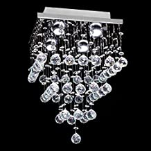 """7PM H15"""" x W11"""" Square Rain Drop Clear K9 Crystal Ceiling Light Lamp Modern contemporary Chandelier Lighting Fixture for Bathroom Foyer Entry"""