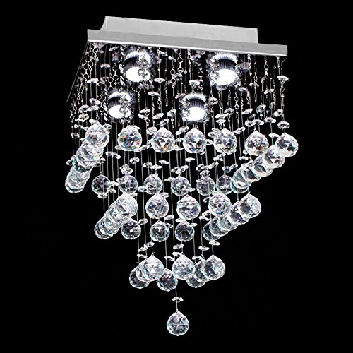 7PM H15'' x W11'' Square Rain Drop Clear K9 Crystal Ceiling Light Lamp Modern contemporary Chandelier Lighting Fixture for Bathroom Foyer Entry