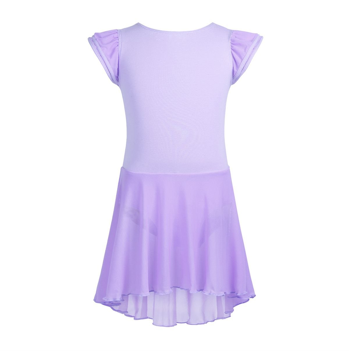 CHICTRY Kids Girls Dance Dress Gymnastics Ballet Skirted Leotard with Flutter Sleeves Lavender 5-6
