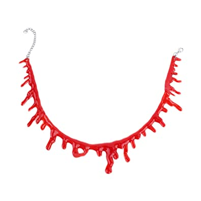 cb39b28af0901 Paialco Women's Horror Blood Drip Choker Creepy Necklace for Halloween