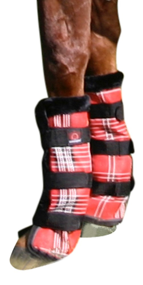 Kensington Horse Fly Boots with Comfortable Fleece Trim — Stay-Up Technology with Velcro Straps — Protection from Insect Bites and UV Rays — Sold in Pairs of 2 (Deluxe Red Plaid)