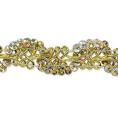 Expo International Lila Sequin Loop Braid Trim Embellishment Gold 20-Yard