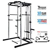 Vanswe Power Rack Power Cage Home Gym Equipment Exercise Stand Olympic Squat Cage with LAT Pull Attachment, Multi-Grip Pull-up Bar and Dip Handle (Silver)