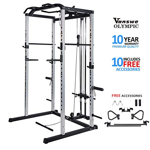 Fitness Power Rack Power Cage Home Gym Equipment Exercise Stand Olympic Squat Cage with LAT Pull Attachment, Multi-Grip Pull-up Bar and Dip Handle (Silver Cage)