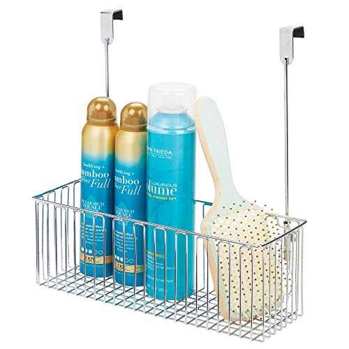 mDesign Metal Over Cabinet Bathroom Storage Organizer Holder or Basket - Hang Over Cabinet Doors - Holds Shampoo, Conditioner, Body Wash - Strong Steel Wire - - Metal Cabinets Bathroom