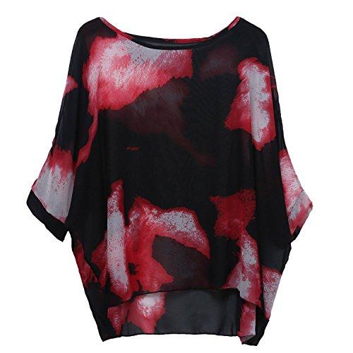 (Rokou Women Chiffon Blouse Floral Batwing Sleeve Beach Loose Tunic Shirt Tops (Color5))