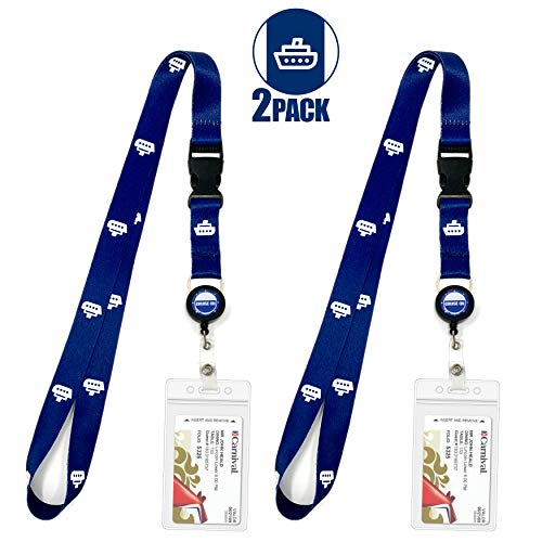 Cruise Lanyard [2-Pack] Lanyards with ID Holder for Cruise Key Cards (Blue Ship) - Essentials & Must Have Accessories by Cruise On