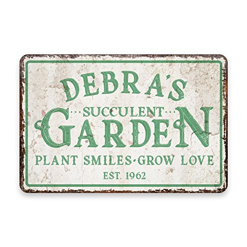 Personalized Vintage Distressed Look Succulent Garden Metal Room Sign